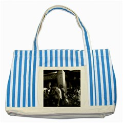 Vintage China changsha market 1970 Blue Striped Tote Bag
