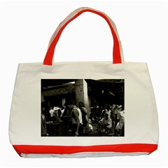 Vintage China changsha market 1970 Red Tote Bag