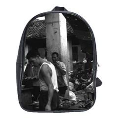Vintage China changsha market 1970 Large School Backpack