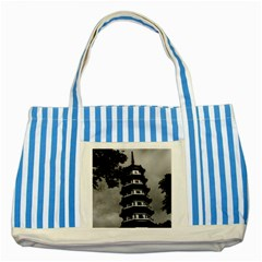 Vintage China Canton the flowery pagoda 1970 Blue Striped Tote Bag
