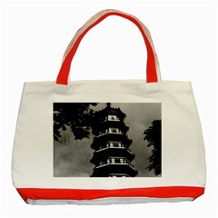 Vintage China Canton the flowery pagoda 1970 Red Tote Bag
