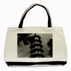 Vintage China Canton the flowery pagoda 1970 Twin-sided Black Tote Bag