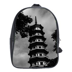 Vintage China Canton the flowery pagoda 1970 Large School Backpack