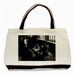 Vintage China Guilin Stone Sculpture Workshop 1970 Twin Sided Black Tote Bag