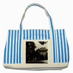 Vintage China Canton Martyrs Parc 1970 Blue Striped Tote Bag