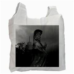 Vintage China Hong Kong Repulse Bay Kwun Yam Statue Twin Sided Reusable Shopping Bag