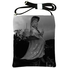 Vintage China Hong Kong Repulse Bay Kwun Yam Statue Cross Shoulder Sling Bag