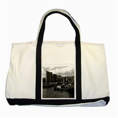 Vintage China Hong Kong houseboats river 1970 Two Toned Tote Bag
