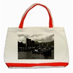 Vintage China Hong Kong Houseboats River 1970 Red Tote Bag