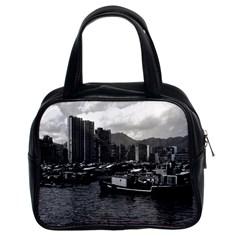 Vintage China Hong Kong houseboats river 1970 Twin-sided Satchel Handbag