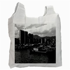 Vintage China Hong Kong Houseboats River 1970 Twin Sided Reusable Shopping Bag