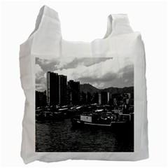 Vintage China Hong Kong houseboats river 1970 Twin-sided Reusable Shopping Bag