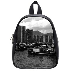 Vintage China Hong Kong houseboats river 1970 Small School Backpack