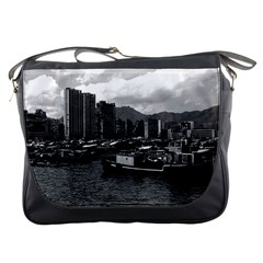 Vintage China Hong Kong houseboats river 1970 Messenger Bag