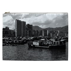 Vintage China Hong Kong houseboats river 1970 Cosmetic Bag (XXL)