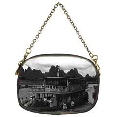 Vintage China Guilin river boat 1970 Twin-sided Evening Purse
