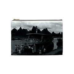 Vintage China Guilin river boat 1970 Medium Makeup Purse