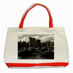 Vintage China Hong Kong Houseboats River 1970 Red Tote Bag