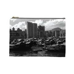 Vintage China Hong Kong Houseboats River 1970 Large Makeup Purse