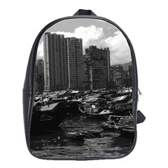 Vintage China Hong Kong Houseboats River 1970 Large School Backpack