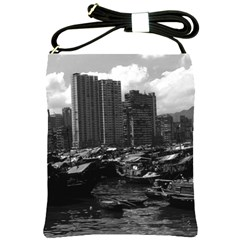 Vintage China Hong Kong Houseboats River 1970 Cross Shoulder Sling Bag