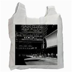 Vintage China Hong Kong street City 1970 Single-sided Reusable Shopping Bag