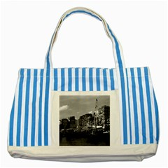 Vintage China Hong Kong houseboats river 1970 Blue Striped Tote Bag