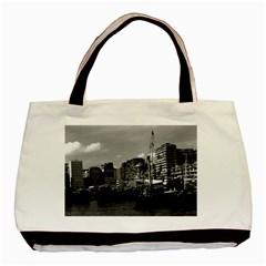 Vintage China Hong Kong houseboats river 1970 Twin-sided Black Tote Bag