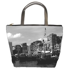 Vintage China Hong Kong houseboats river 1970 Bucket Handbag