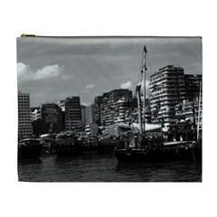 Vintage China Hong Kong houseboats river 1970 Extra Large Makeup Purse