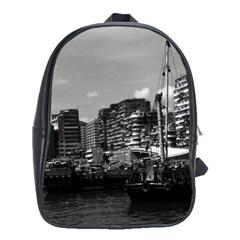 Vintage China Hong Kong Houseboats River 1970 School Bag (xl)