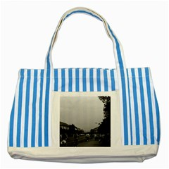 Vintage China Guilin street bicycles 1970 Blue Striped Tote Bag