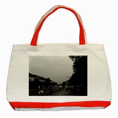 Vintage China Guilin street bicycles 1970 Red Tote Bag