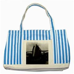 Vintage China Changsha Xiang Jiang River Boat 1970 Blue Striped Tote Bag