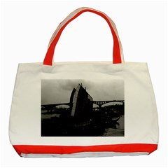 Vintage China Changsha Xiang Jiang River Boat 1970 Red Tote Bag