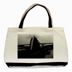 Vintage China Changsha Xiang Jiang River Boat 1970 Twin Sided Black Tote Bag