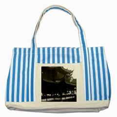 Vintage China Shanghai Yuyuan garen Dianchun hall 1970 Blue Striped Tote Bag