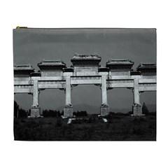 Vintage China Pekin Gate Ming Tombs 1970 Extra Large Makeup Purse