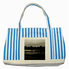 Vintage China Guilin Cormorant Fisherman 1970 Blue Striped Tote Bag