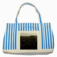 Vintage China Shanghai City 1970 Blue Striped Tote Bag
