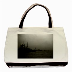 Vintage China Shanghai port 1970 Twin-sided Black Tote Bag