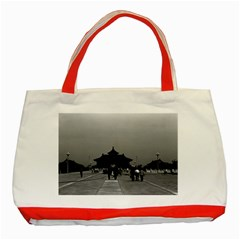 Vintage China Pekin Forbidden City Gate 1970 Red Tote Bag
