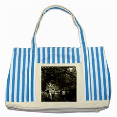 Vintage China Shanghai street 1970 Blue Striped Tote Bag