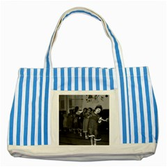 Vintage China Shanghai Child Care 1970 Blue Striped Tote Bag