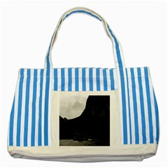 Vintage China Guilin River Boat 1970 Blue Striped Tote Bag