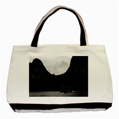 Vintage China Guilin river boat 1970 Twin-sided Black Tote Bag