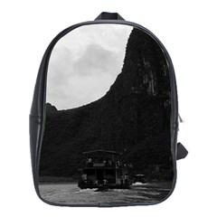 Vintage China Guilin river boat 1970 Large School Backpack