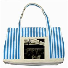 Vintage Germany Munich Underground Station Marienplatz Blue Striped Tote Bag