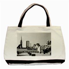 Vintage Germany Frankfurt Old Saint Nicholas Church Twin-sided Black Tote Bag