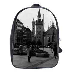 Vintage Germany Munich Church Marienplatz 1970 Large School Backpack
